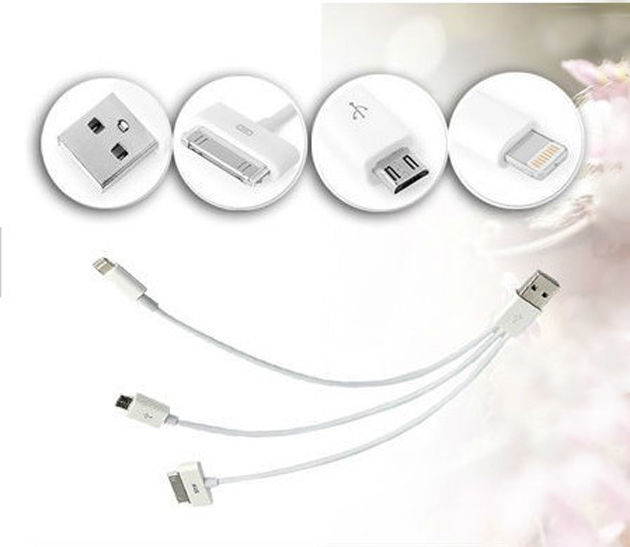 3 in 1 USB Cable for iPhone iPad Micro USB Sync Data Cable