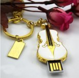Wholesale creative U disk personalized keychain with crystal violin