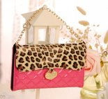 Korean leopard patent leather mobile phone protector wallet leather lanyards