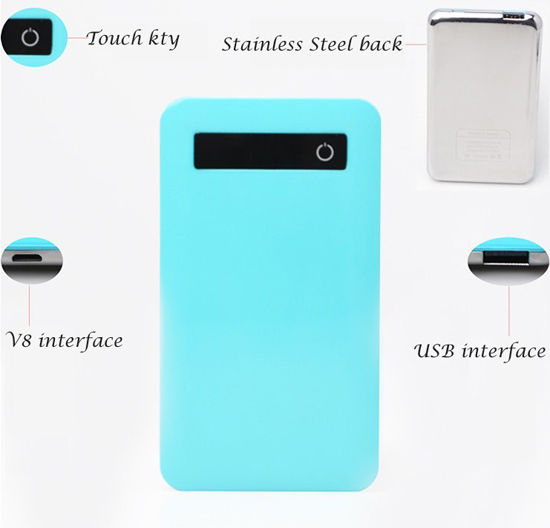The new high-capacity ultra-thin candy-color touch screen mobile power charging treasure polymer