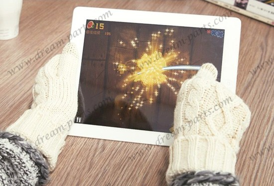 Wool gloves female touch screen winter wool thickened warm gloves knitted